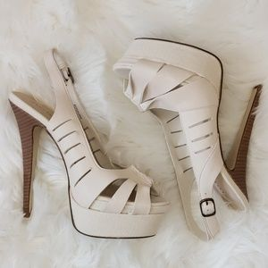 Cream color platform slingback heels